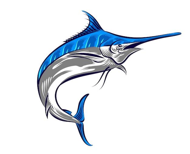 Ilustração de peixe-espada para logotipo e elemento de marca