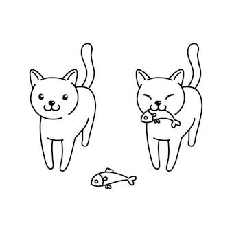 Ilustração de peixe gato gatinho