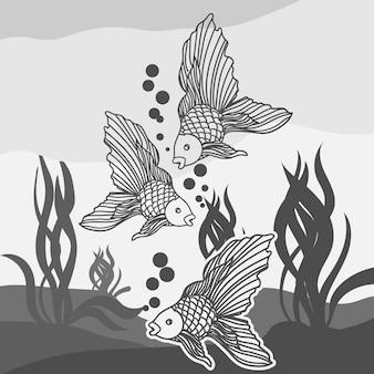 Ilustração de peixes em preto e branco