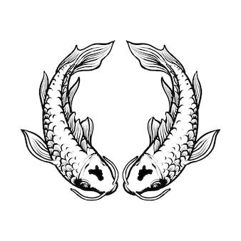 Ilustração de peixes gêmeos koi