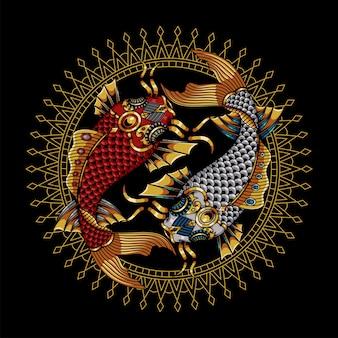Ilustração de peixes koi, mandala colorida zentangle