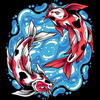 Ilustração de peixes yin yang koi