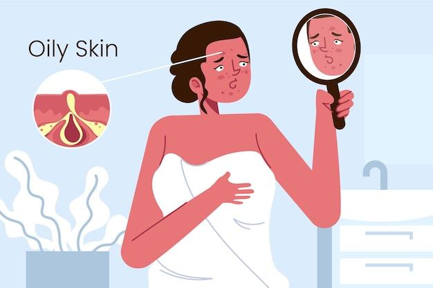 Ilustração de pele oleosa de desenho animado com mulher