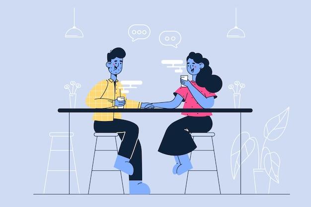 Ilustração de pequena empresa e cafeteria