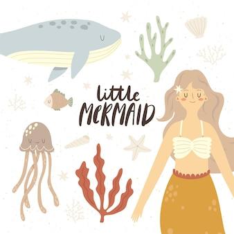 Ilustração de pequena sereia com água-viva, baleia e estrela do mar