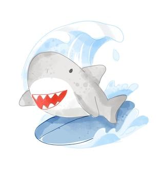 Ilustração de pequeno tubarão na prancha de surf