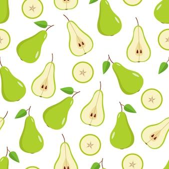 Ilustração de peras verdes designs padrão sem emenda em fundo branco