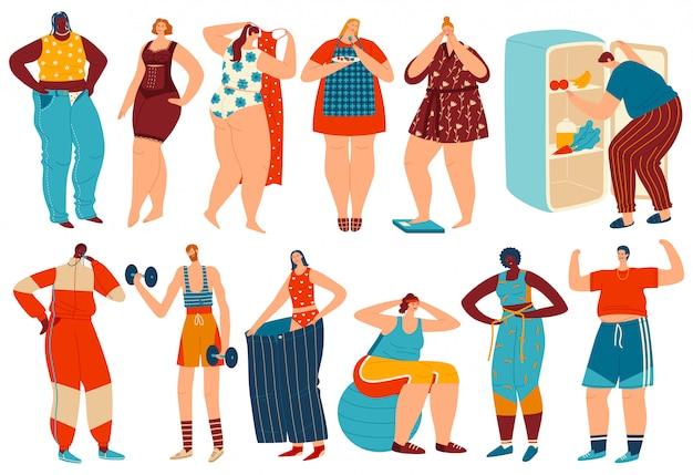 Ilustração de perda de peso, personagem de homem de mulher obesa com excesso de peso dos desenhos animados, perder gordura após dieta e fitness esporte exercícios conjunto