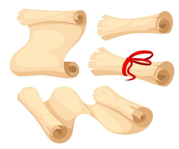 Ilustração de pergaminho antigo. rolo de papiro com fita vermelha. pergaminhos antigos enrolados e abertos. . ilustração em fundo branco. página do site e aplicativo móvel.