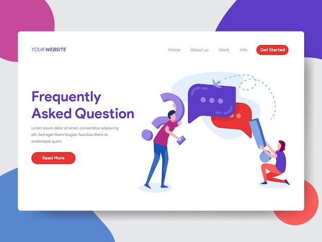 Ilustração de pergunta frequente para a página inicial