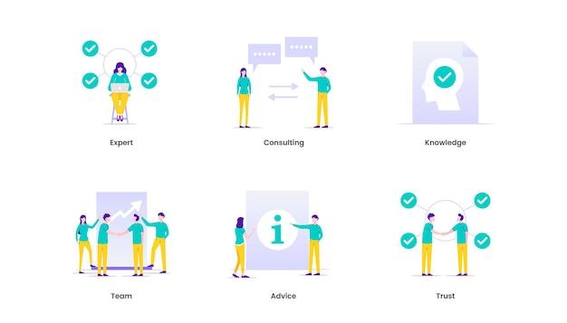 Ilustração de perícia. especialista, consultoria, conhecimento, equipe, conselho e confiança.