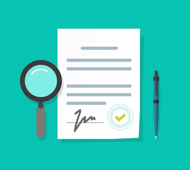 Ilustração de perícia ou inspeção ou documentos jurídicos comerciais