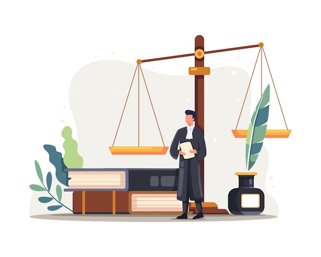 Ilustração de personagem advogado juiz. justiça e símbolo da autoridade federal, conhecimento da profissão de advogado. ilustração vetorial em estilo simples