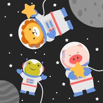 Ilustração de personagem animal vestindo um traje espacial com estrelas