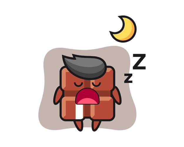 Ilustração de personagem barra de chocolate dormindo à noite, estilo kawaii bonito.