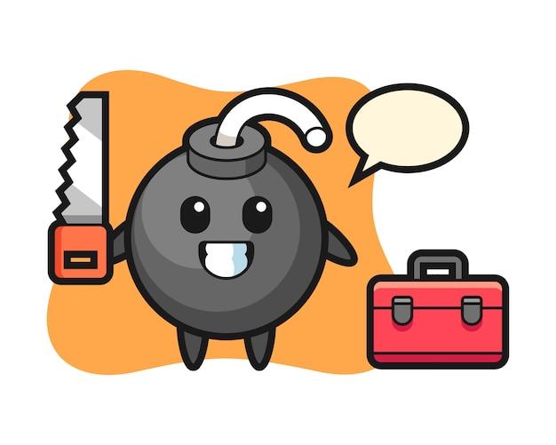 Ilustração de personagem bomba como marceneiro