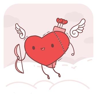 Ilustração de personagem bonito do coração de cupido.