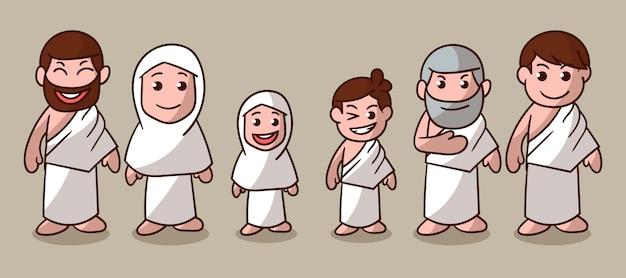 Ilustração de personagem bonito hajj e umrah