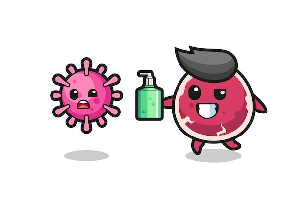 Ilustração de personagem bovino perseguindo vírus maligno com desinfetante para as mãos, design de estilo fofo para camiseta, adesivo, elemento de logotipo