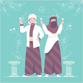 Ilustração de personagem casal casamento islâmico hijab