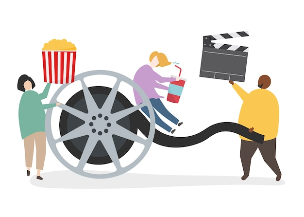 Ilustração de personagem com bobina de filme