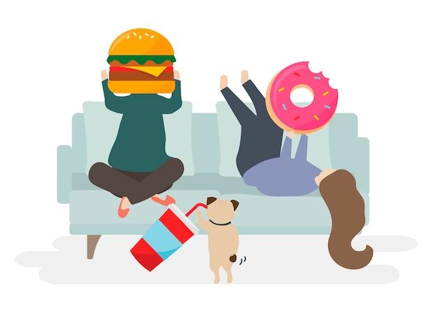 Ilustração de personagem com fast food