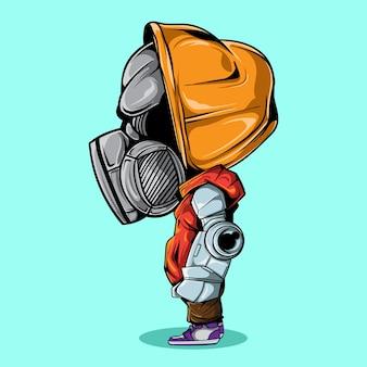 Ilustração de personagem com mão de robô e máscara de gás