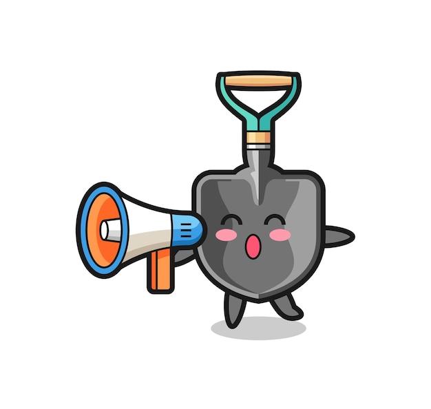 Ilustração de personagem com pá segurando um megafone, design fofo