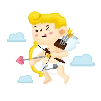 Ilustração de personagem cupido com estilo simples