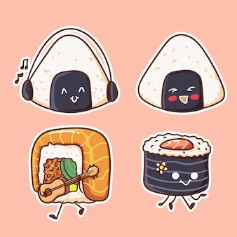 Ilustração de personagem cute and kawaii sushi