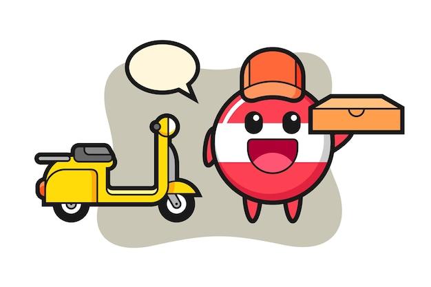 Ilustração de personagem da bandeira da áustria como entregador de pizza