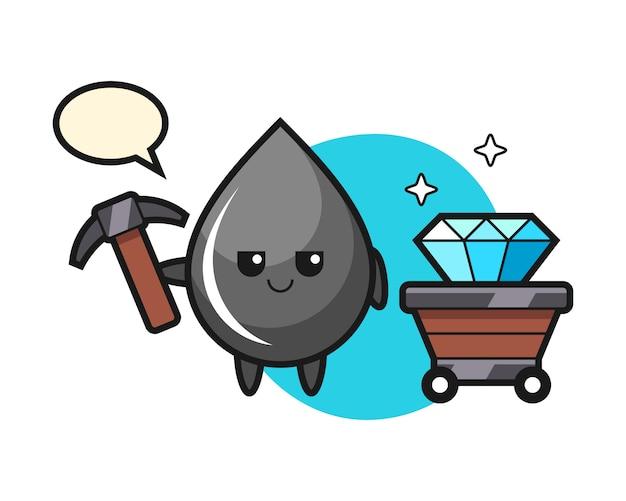 Ilustração de personagem da gota de óleo como um mineiro