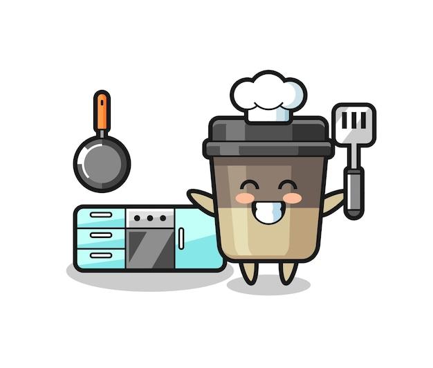 Ilustração de personagem da xícara de café enquanto o chef está cozinhando, design de estilo fofo para camiseta, adesivo, elemento de logotipo