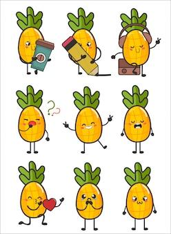 Ilustração de personagem de abacaxi fruta definida para expressão feliz