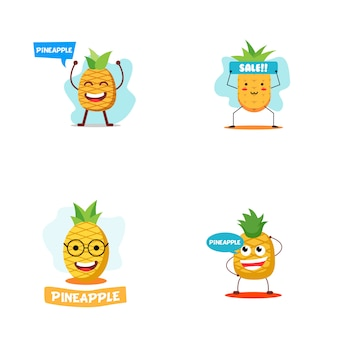 Ilustração de personagem de abacaxi