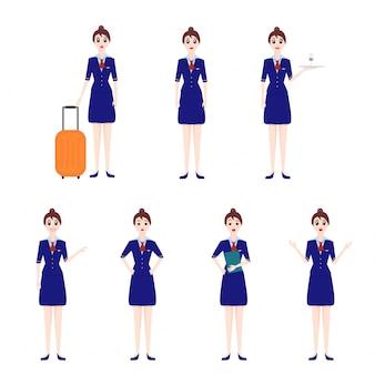 Ilustração de personagem de aeromoça