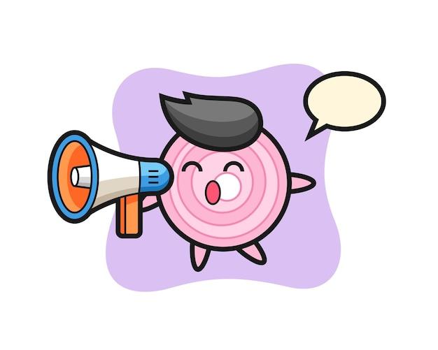 Ilustração de personagem de anéis de cebola segurando um megafone, design de estilo fofo para camiseta, adesivo, elemento de logotipo