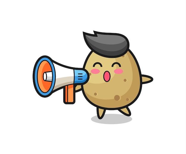 Ilustração de personagem de batata segurando um megafone, design de estilo fofo para camiseta, adesivo, elemento de logotipo