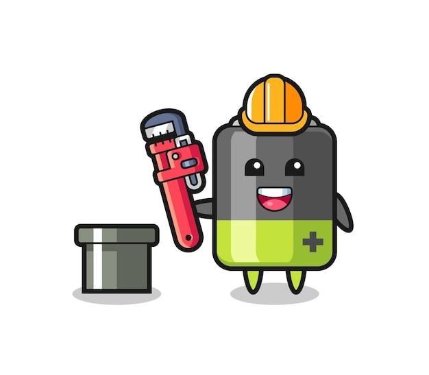 Ilustração de personagem de bateria como encanador, design de estilo fofo para camiseta, adesivo, elemento de logotipo