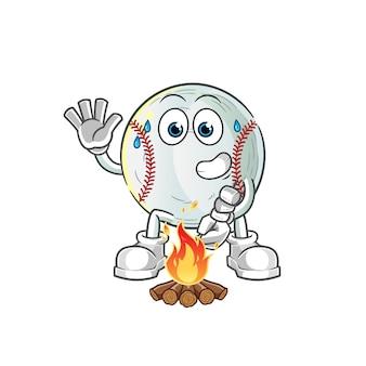 Ilustração de personagem de beisebol assando marshmallows