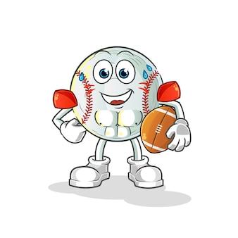 Ilustração de personagem de beisebol jogando rugby