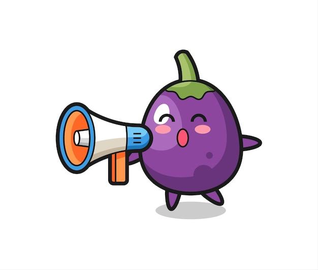 Ilustração de personagem de berinjela segurando um megafone, design de estilo fofo para camiseta, adesivo, elemento de logotipo