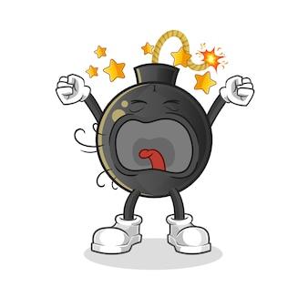 Ilustração de personagem de bocejo de bomba