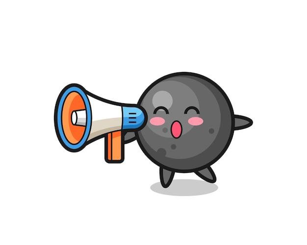 Ilustração de personagem de bola de canhão segurando um megafone, design de estilo fofo para camiseta, adesivo, elemento de logotipo