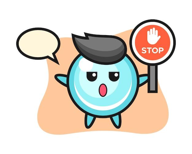 Ilustração de personagem de bolha segurando uma placa de pare, design de estilo bonito
