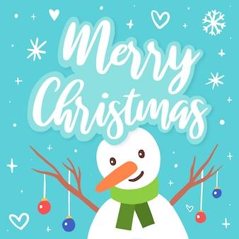 Ilustração de personagem de boneco de neve de natal com letras