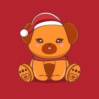 Ilustração de personagem de cachorro fofo com saudações de feliz natal premium vector