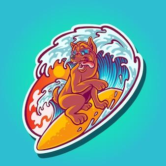 Ilustração de personagem de cachorro surfando