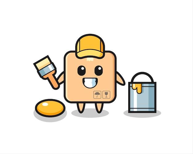 Ilustração de personagem de caixa de papelão como um pintor, design de estilo fofo para camiseta, adesivo, elemento de logotipo