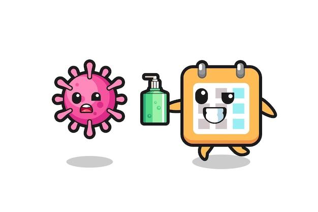 Ilustração de personagem de calendário perseguindo vírus maligno com desinfetante para as mãos, design de estilo fofo para camiseta, adesivo, elemento de logotipo